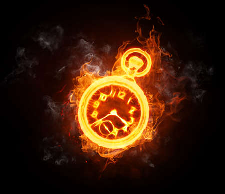burning time: bright flamy symbol on the black background