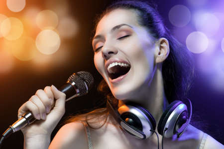 pretty girl singing at the revelry party Stock Photo - 5016798