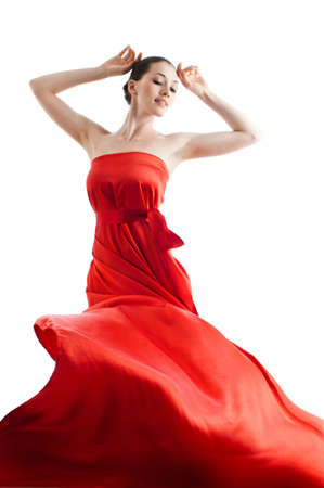 beautiful young woman in red long dress Stock Photo - 5024549