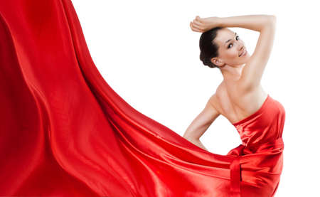 beautiful young woman in red long dress Stock Photo - 5069090