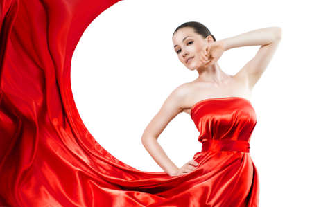 beautiful young woman in red long dress Stock Photo - 5069093