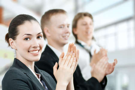 team of successful smiling young business people Stock Photo - 5295060