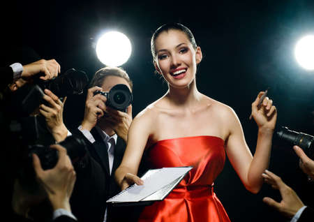 correspondent: Photographers are taking a picture of a film star  Stock Photo
