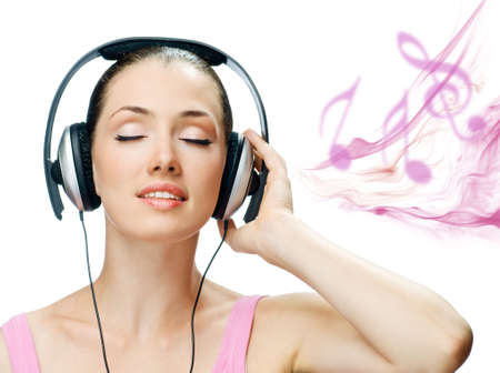 girl in headphones on the white background Stock Photo