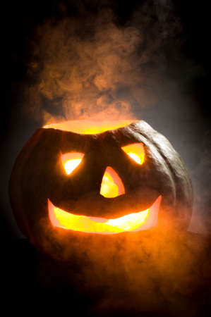 pumpkin head: old pumpkin head on a black background