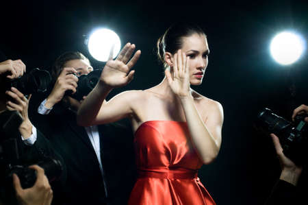 famous women: Photographers are taking a picture of a film star  Stock Photo