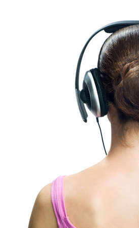 girl in headphones on the white background Stock Photo - 5620407