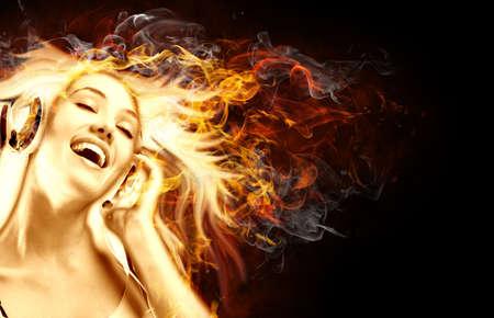 bright flamy symbol on the black background Stock Photo - 5840035