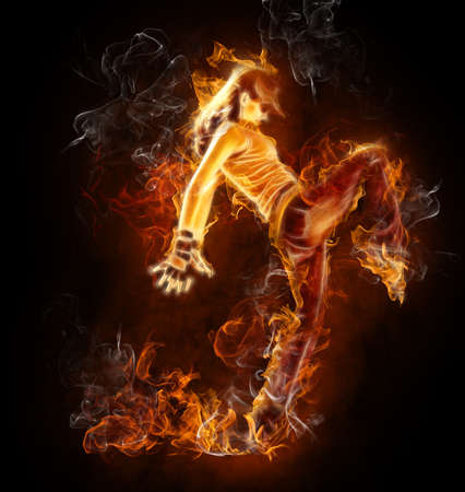 modern girl: bright flamy symbol on the black background