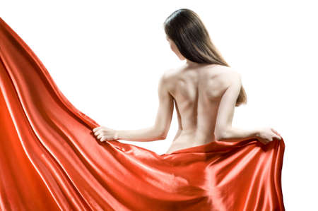 nude woman back: beautiful young woman in red long dress Stock Photo