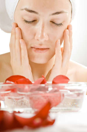 closeup of beauty woman  with spa flowers Stock Photo - 5880178