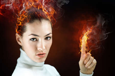 grievance: angry gorgeus girl in the burning flame