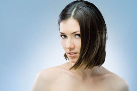a beauty girl on the blue background Stock Photo - 6067932
