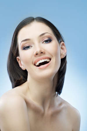 a beauty girl on the blue background Stock Photo - 6286833