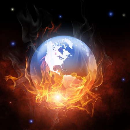 ózon: fényes lángoló szimbóluma a fekete háttér