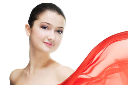 a beauty girl on the white background photo
