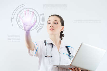 expertise concept: successful person making use of innovative technologies Stock Photo