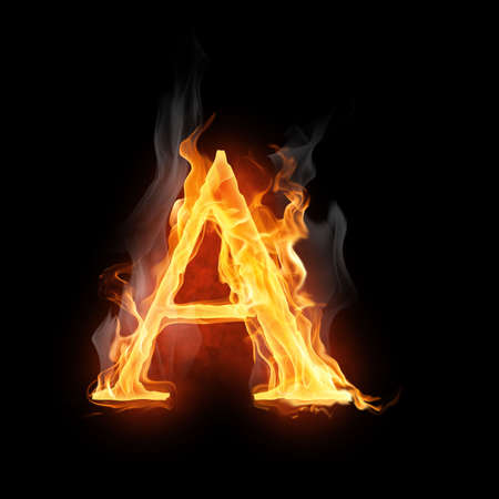 fire alphabet: bright flamy symbol on the black background