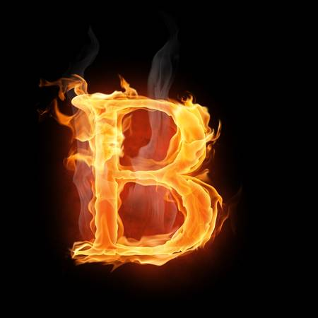letter b: bright flamy symbol on the black background