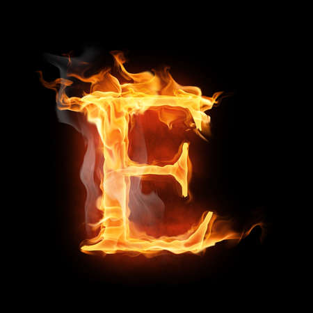fire font: bright flamy symbol on the black background