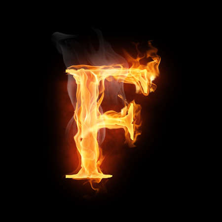 fire symbol: bright flamy symbol on the black background