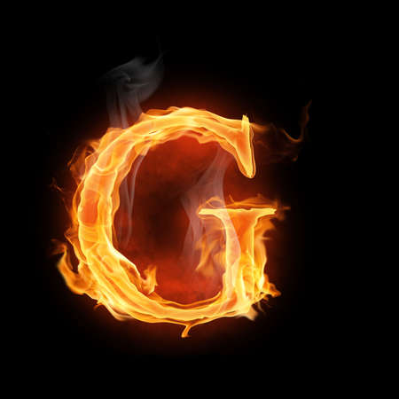 burning alphabet: bright flamy symbol on the black background