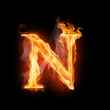 letter n: bright flamy symbol on the black background