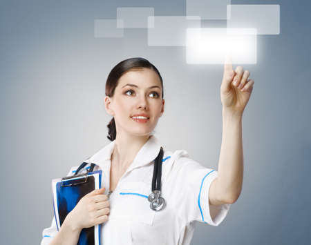 healthcare: successful person making use of innovative technologies Stock Photo