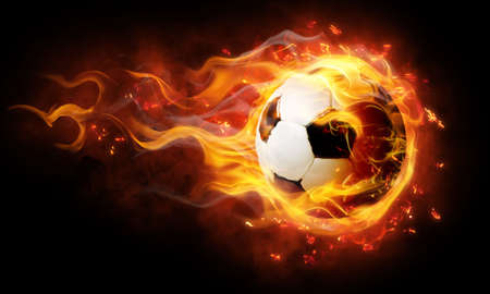 soccer game: bright flamy symbol on the black background
