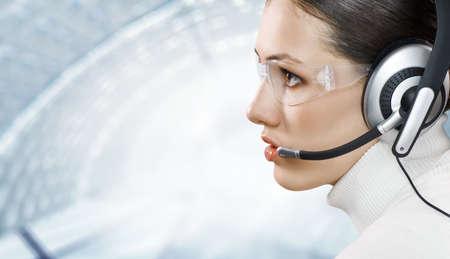 a beauty business woman wearing a headset photo