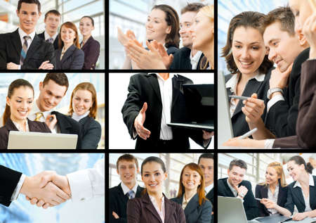 working team of successful young business people photo