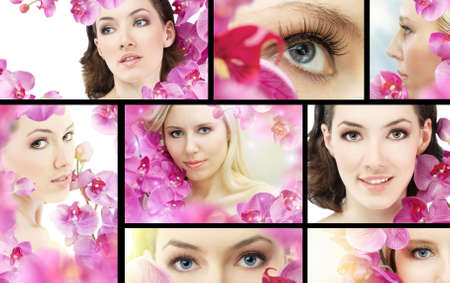 beauty flower woman. ( lot images collage ) photo