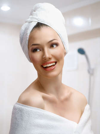 bathtowel: a beautiful girl wrapped in the bathtowel