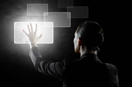 inspiratie: succesvolle persoon maken gebruik van innovatieve technologieën Stockfoto