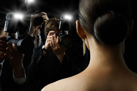 admire: Photographers are taking a picture of a film star  Stock Photo