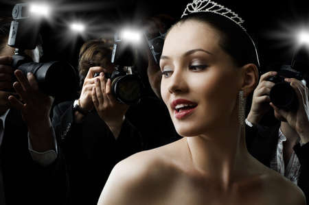 divas: Photographers are taking a picture of a film star  Stock Photo