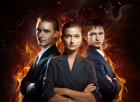 fire team: team of successful serious young business people