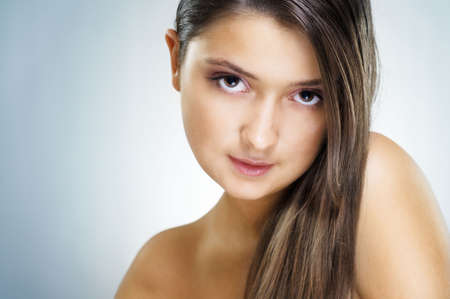 beauty girl on the blue background Stock Photo - 7903980