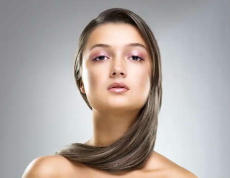 a beauty girl on the grey background Stock Photo - 8041956