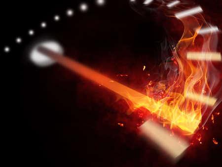 bright flamy symbol on the black background photo