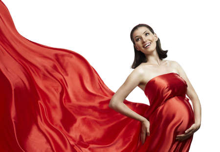 beautiful young woman in red long dress Stock Photo - 8107509