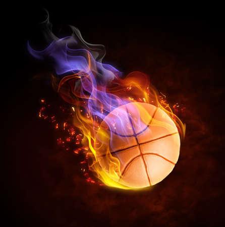 baloncesto: brillante s�mbolo flamy sobre el fondo negro