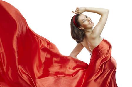 milagros: joven y bella mujer en vestido largo rojo Foto de archivo
