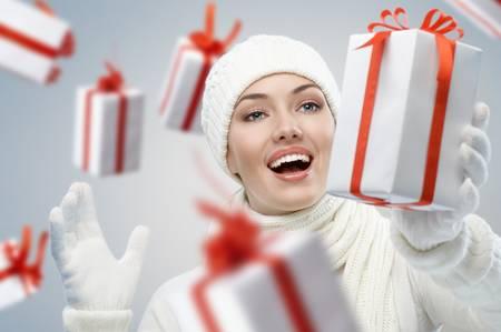 a beauty young girl with christmas gift Stock Photo - 8467144