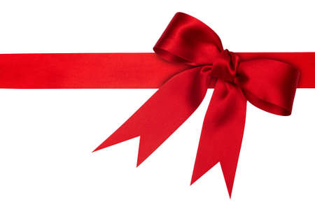 holiday red ribbon on the white background photo
