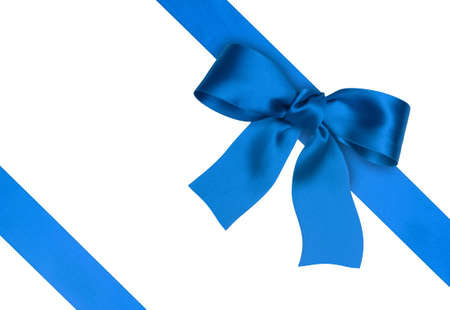 blue silk: blue silk ribbon on the white background