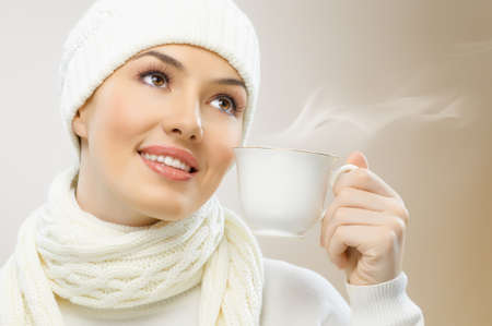 a beauty girl on the brown background photo