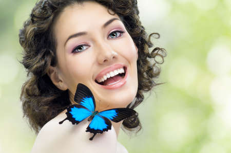 girl and a beautiful butterfly Stock Photo - 9046127