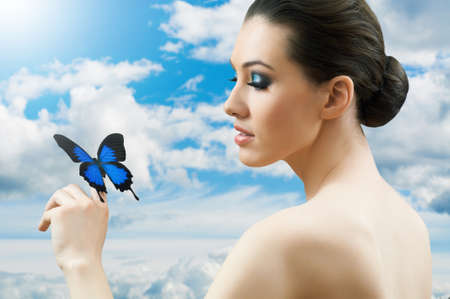 girl and a beautiful butterfly photo
