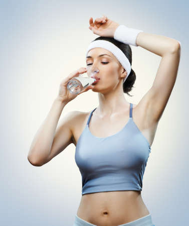 Athlete drinking water photo